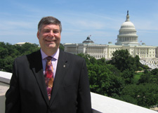 Robert D. Gillen, Esq., on the balcony of the Supreme Court building